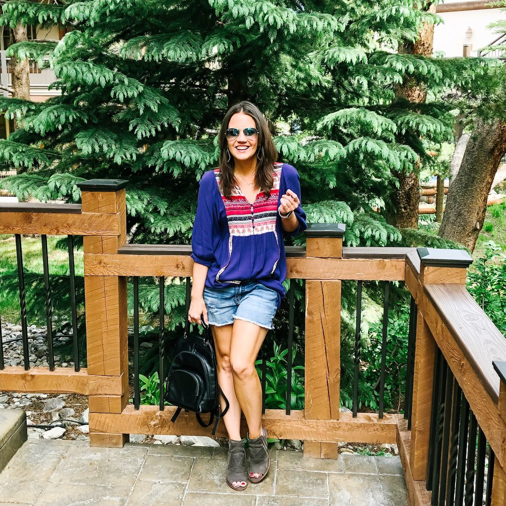 summer vacation outfit | distressed denim shorts | peep toe booties | Casual Fashion Blog Lady in Violet