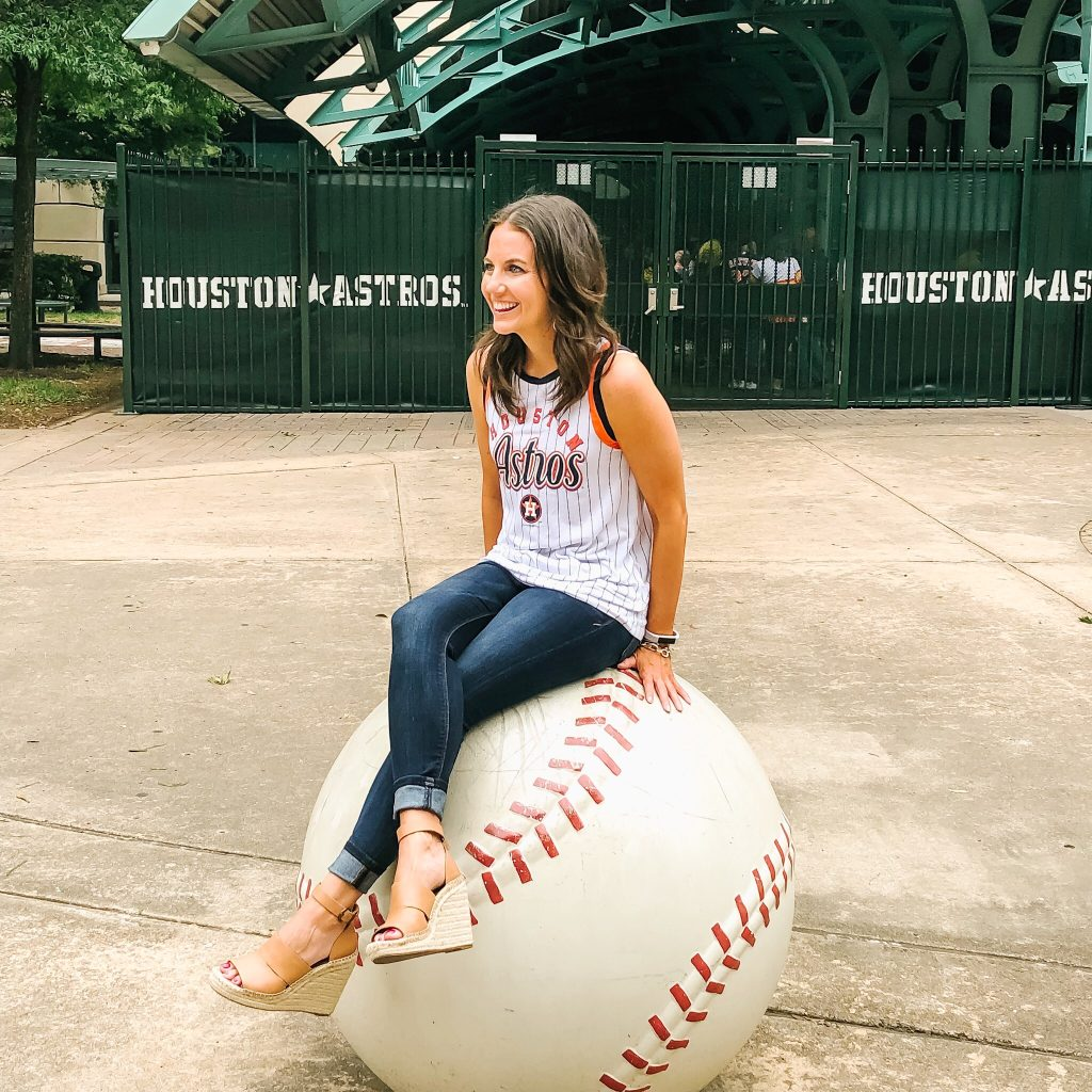 baseball game outfit | Houston Astros sleeveless top | brown wedges | Texas Fashion Blog Lady in Violet