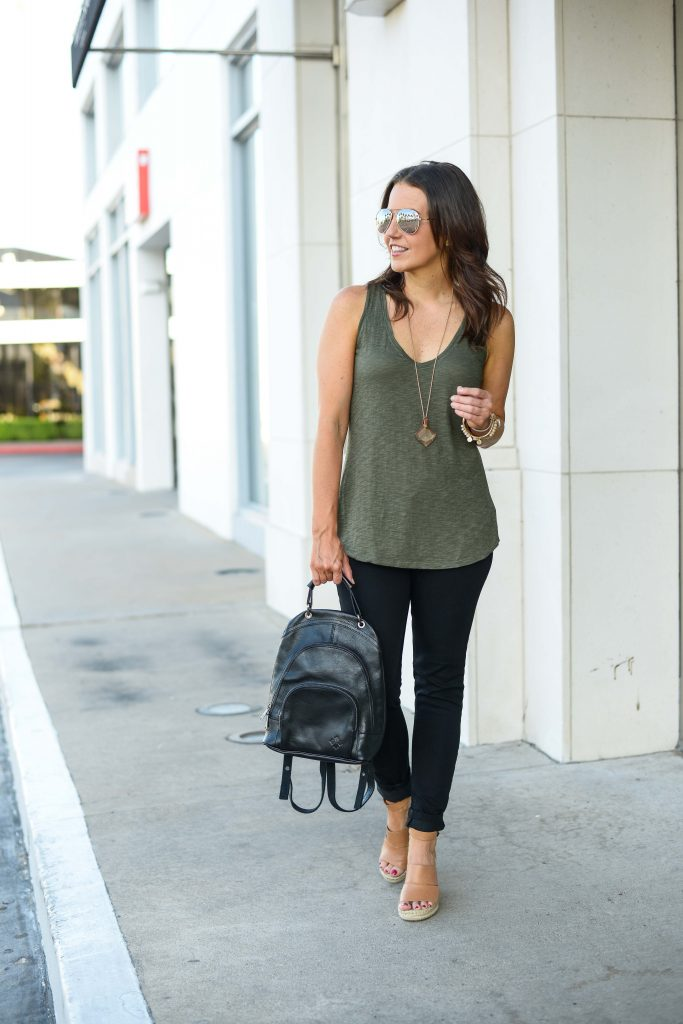 casual outfit | olive green tank top | black leather backpack purse | Affordable Fashion Blogger Lady in Violet