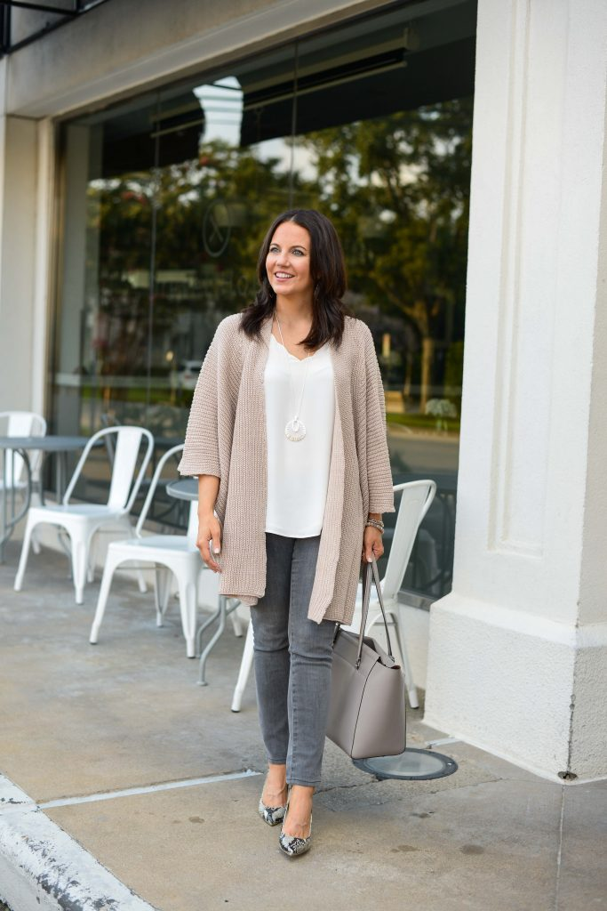 fall outfit | blush pink cardigan | gray skinny jeans | Affordable Fashion Blog Lady in Violet