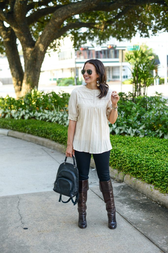 fall outfit | ivory short sleeve blouse | black leather backpack | Affordable Fashion Blog Lady in Violet