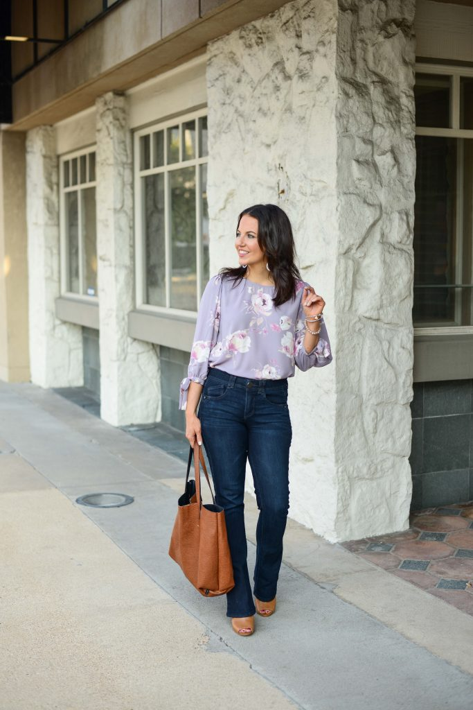 fall outfit | lavender floral blouse | dark wash jeans | Affordable Fashion Blog Lady in Violet