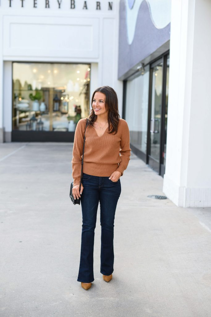 fall outfit | light brown sweater | dark wash bootcut jeans | Affordable Fashion Blog Lady in Violet
