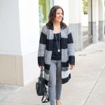 Black & Gray Striped Long Cardigan