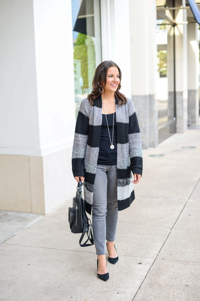 fall outfit | striped cardigan | gray jeans | Petite Fashion Blogger Lady in Violet