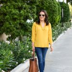 Yellow V-Neck Top + Brown Booties
