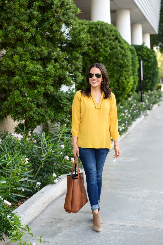 fall outfit | yellow 3:4 sleeve blouse | brown suede booties | Petite Fashion Blog Lady in Violet