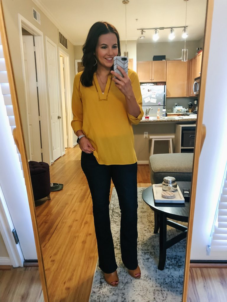 fall outfit | yellow blouse | dark wash flare jeans | Petite Fashion Blog Lady in Violet