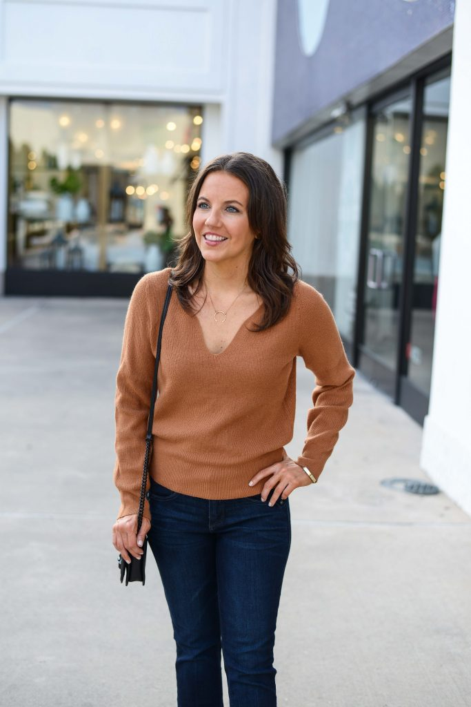 casual fall outfit | dark tan sweater | gold pendant necklace | Houston Fashion Blogger Lady in Violet