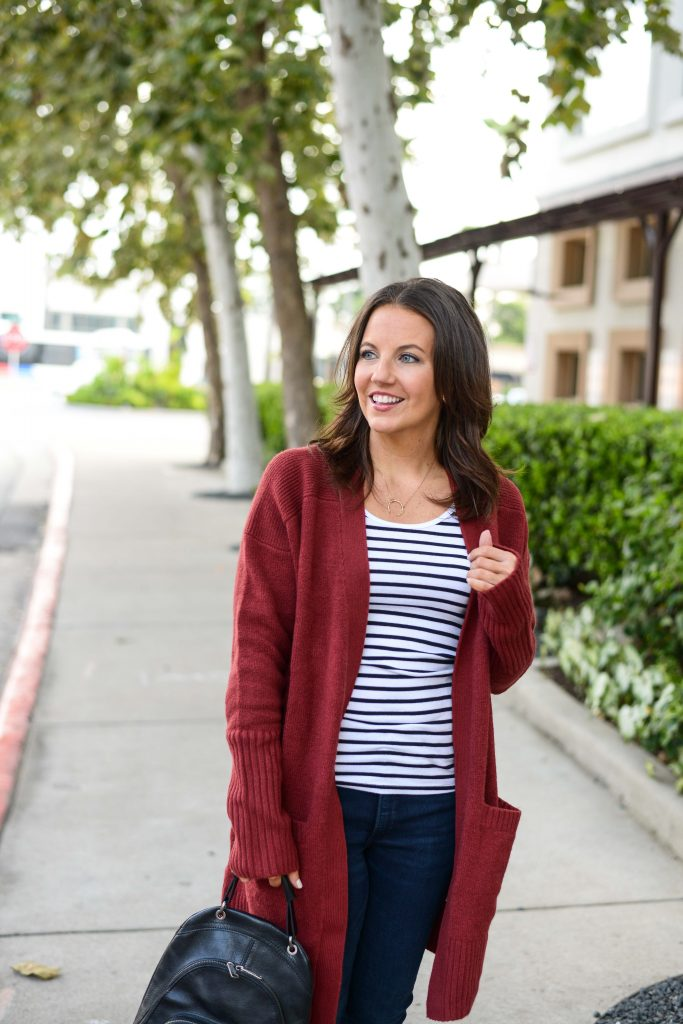 casual fall outfit | red cardigan | striped tank top | Houston Fashion Blogger Lady in Violet