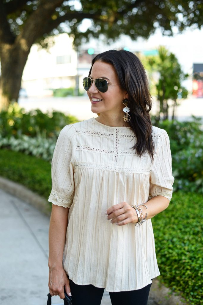 casual outfit | tortoise earrings | ivory lace top | Houston Fashion Blog Lady in Violet