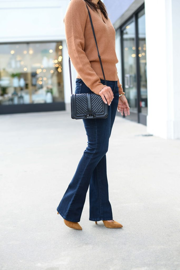 business casual work outfit | dark wash flare jeans | brown suede heels | Petite Fashion Blog Lady in Violet