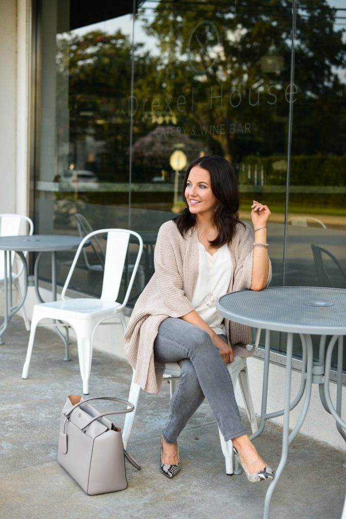 casual fall outfit | gray skinny jeans | snakeskin heels | Houston Fashion Blog Lady in Violet