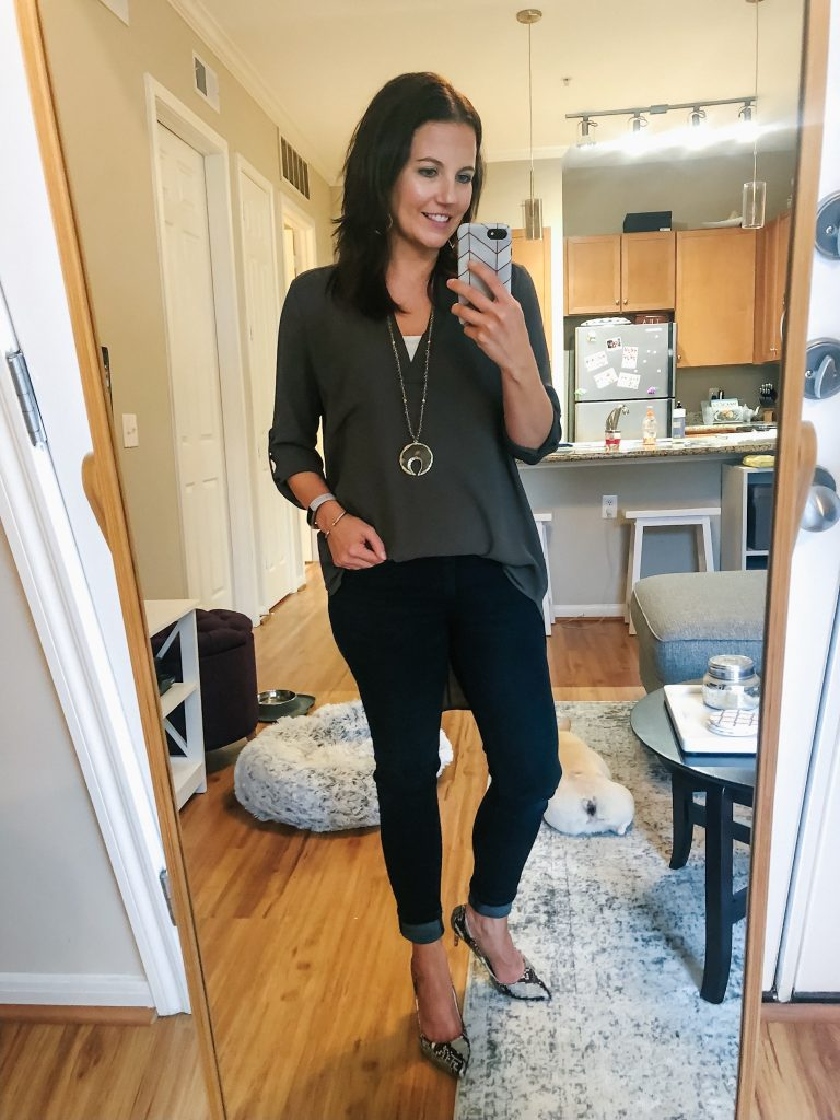 casual fall outfit | olive green tunic top | snakeskin heels | Everyday Fashion Blog Lady in Violet