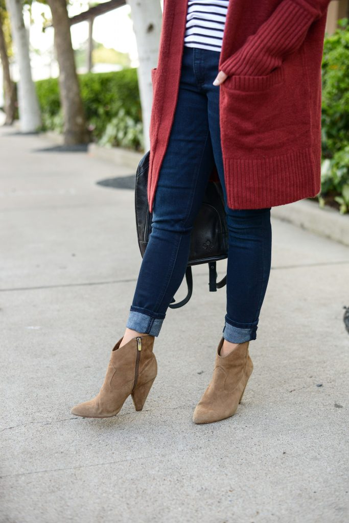 casual outfit | dark wash cuffed jeans | brown suede western booties | Petite Fashion Blog Lady in Violet