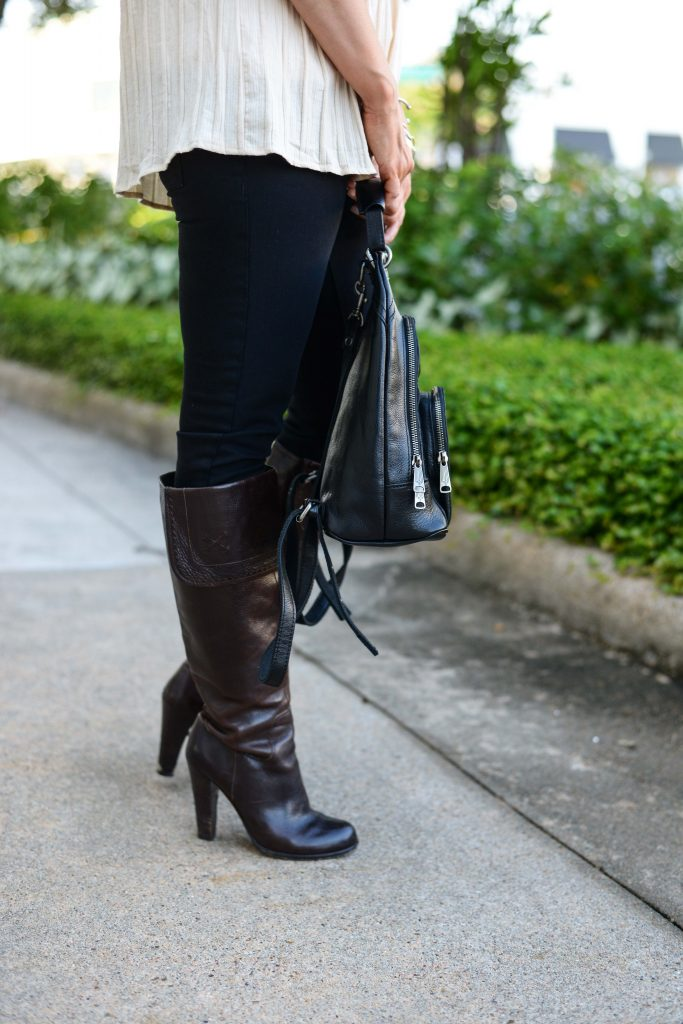 fall outfit | brown tall boots | black leather backpack purse | Petite Fashion Blog Lady in Violet