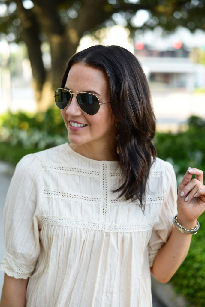 casual outfit   white lace detail blouse   rayban aviator sunglasses   Everyday Fashion Blog Lady in Violet