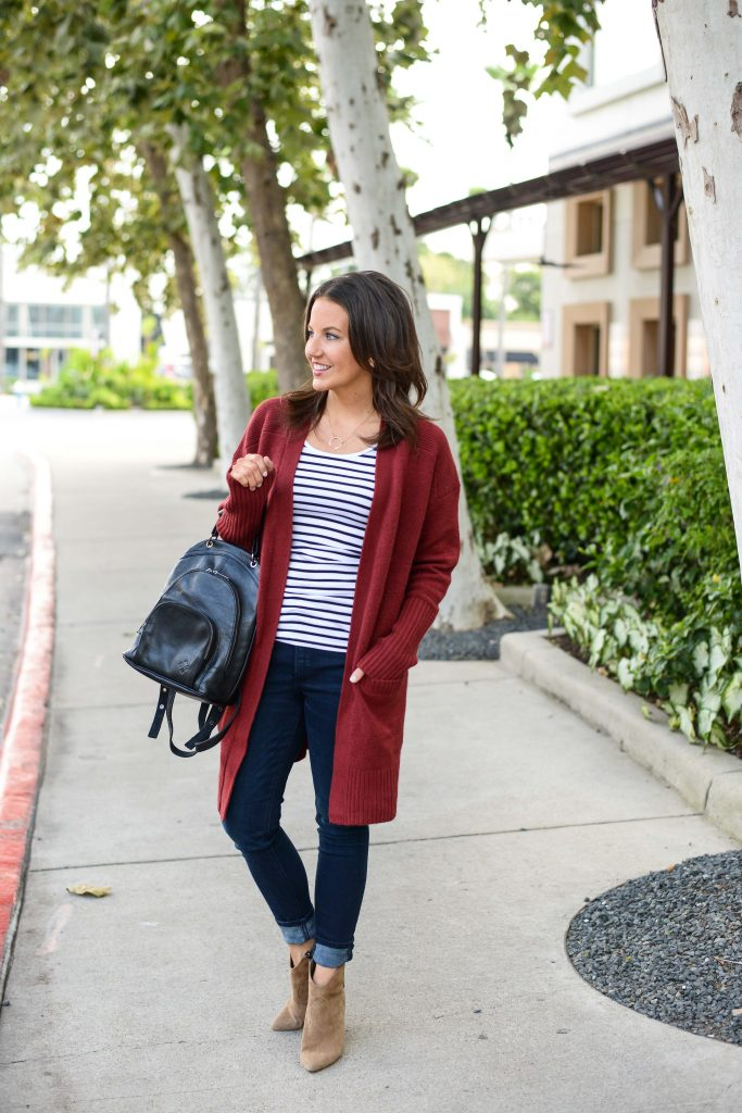 easy fall outfit formula | dark red long cardigan | dark blue skinny jeans | Budget Friendly Fashion Blog Lady in Violet