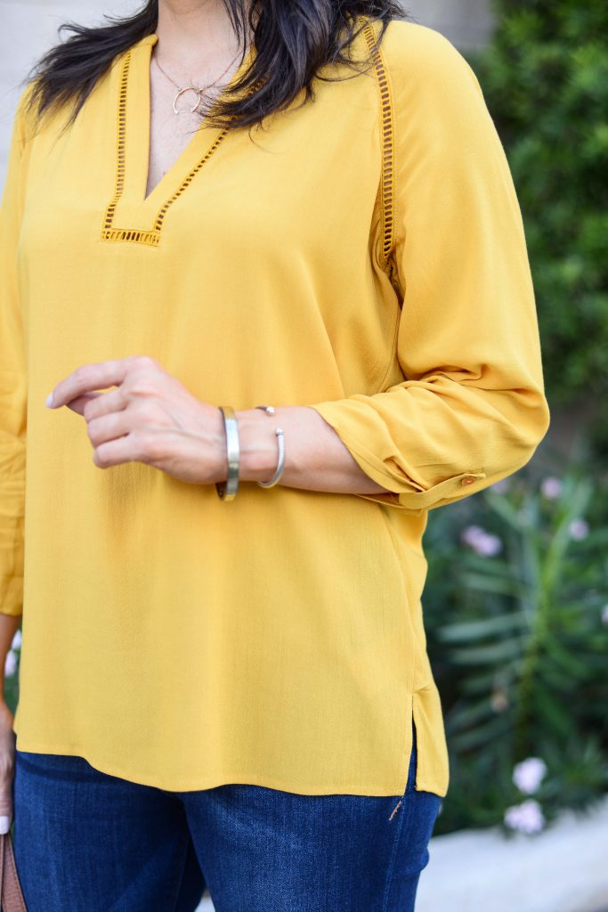 fall fashion | yellow long sleeve blouse | gold bracelet | Casual Fashion Blog Lady in Violet