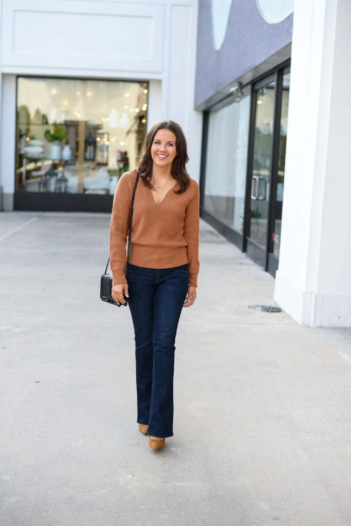 fall outfit light | brown vneck sweater | dark wash jeans | Budget Friendly Fashion Blog Lady in Violet