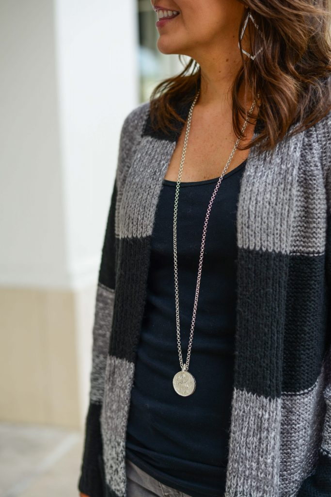fall outfit | striped cardigan | silver coin necklace | Budget Friendly Fashion Blog Lady in Violet