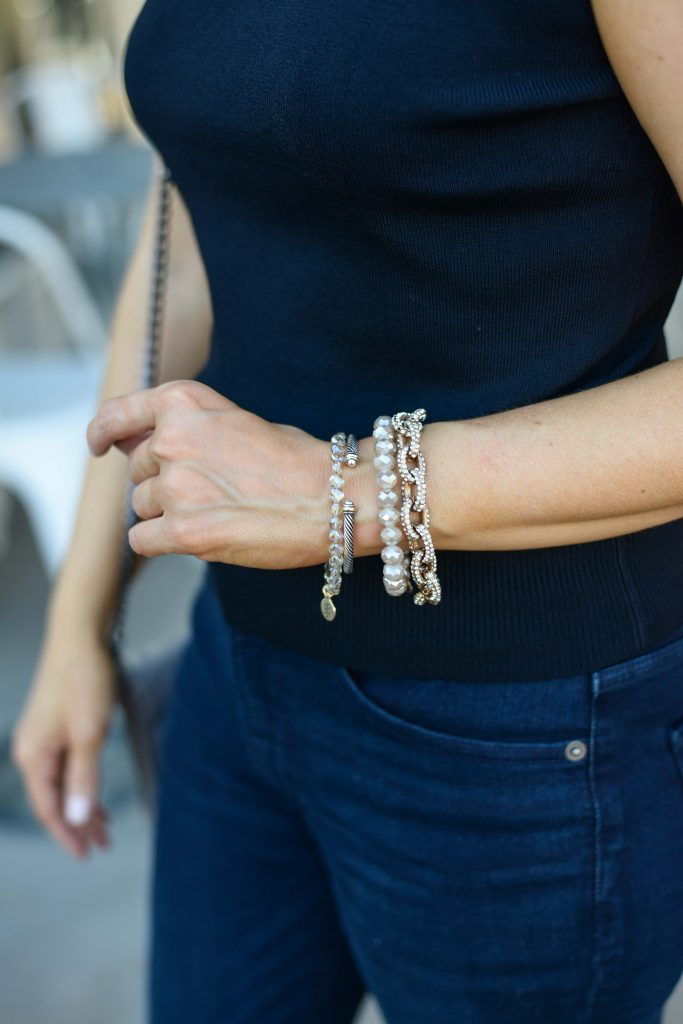 summer outfit | bead bracelets | arm stack idea | Houston Fashion Blog Lady in Violet