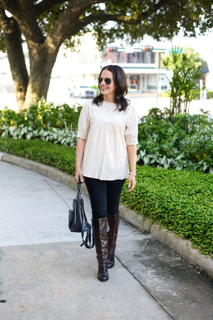 casual fall outfit | ivory flowy top | black skinny jeans | Texas Fashion Blog Lady in Violet