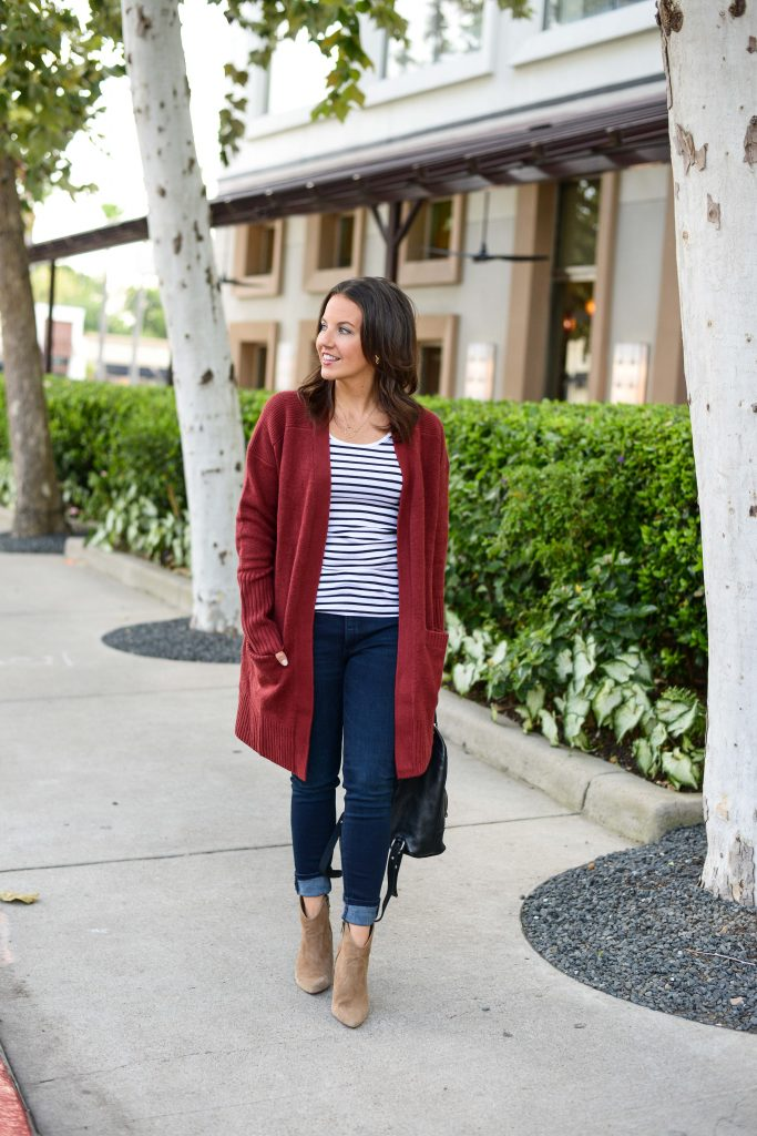 casual fall outfits | long dark red cardigan | affordable striped tank top for layering | Everyday Fashion Blog Lady in Violet