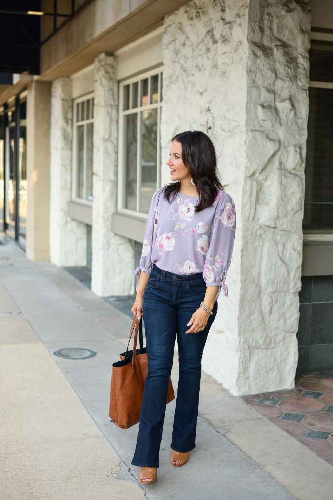 casual work outfit | pastel purple blouse | dark wash bootcut jeans | Budget Friendly Fashion Blog Lady in Violet