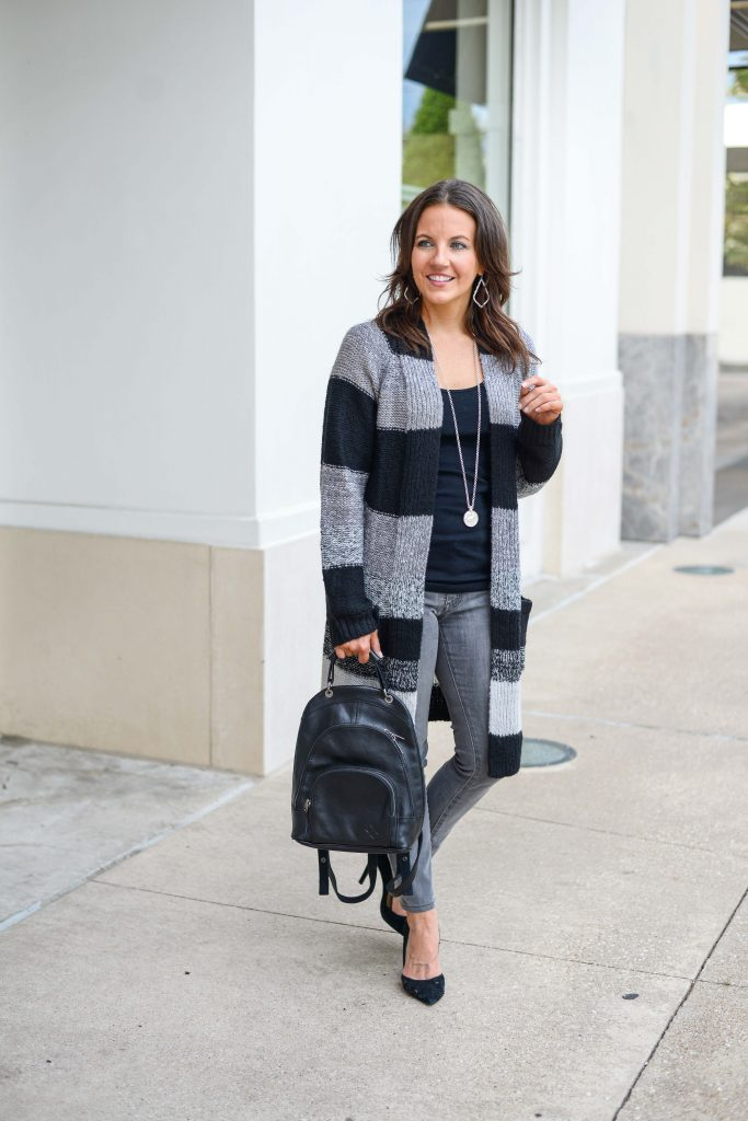 fall casual outfit | big stripes cardigan | black leather backpack | Texas Fashion Blogger Lady in Violet