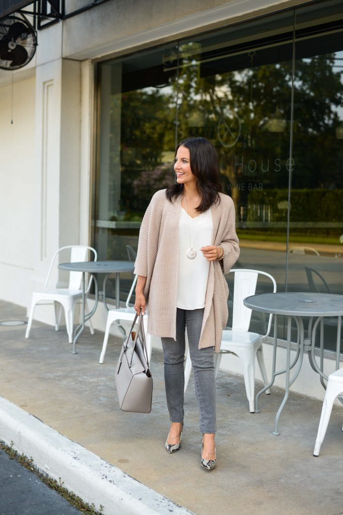 fall outfit | light pink cardigan | gray denim | Everyday Fashion Blog Lady in Violet