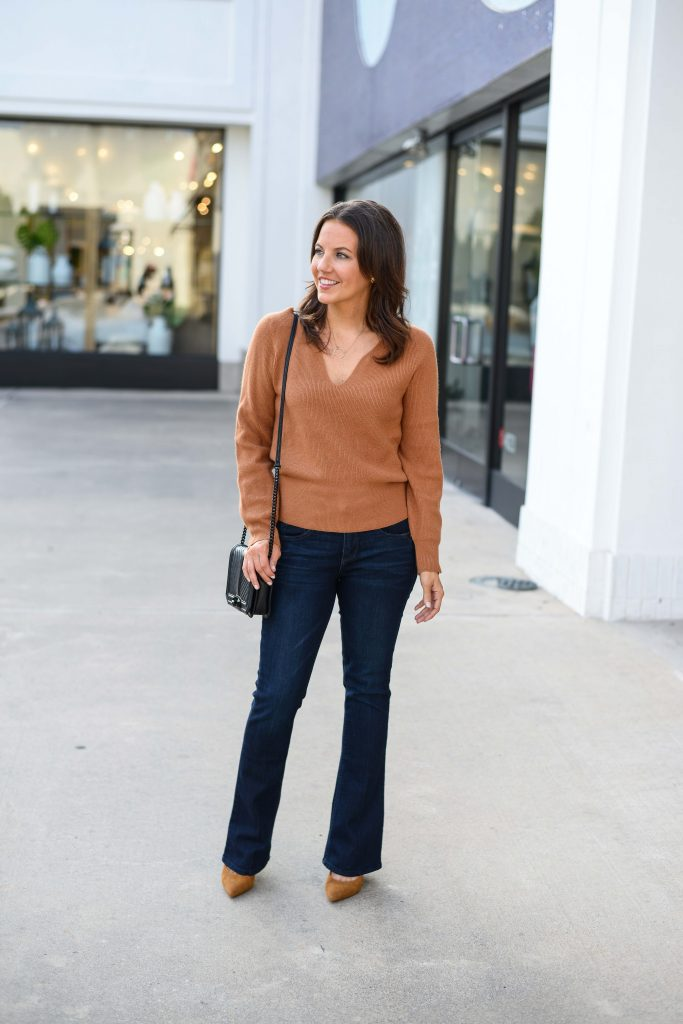 fall outfits | light brown sweater | dark wash bootcut denim | Everyday Fashion Blog Lady in Violet
