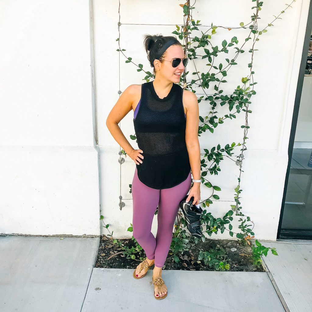 what to wear to spin class | mesh black tank top | pink lululemon leggings | Houston Fashion Blog Lady in Violet