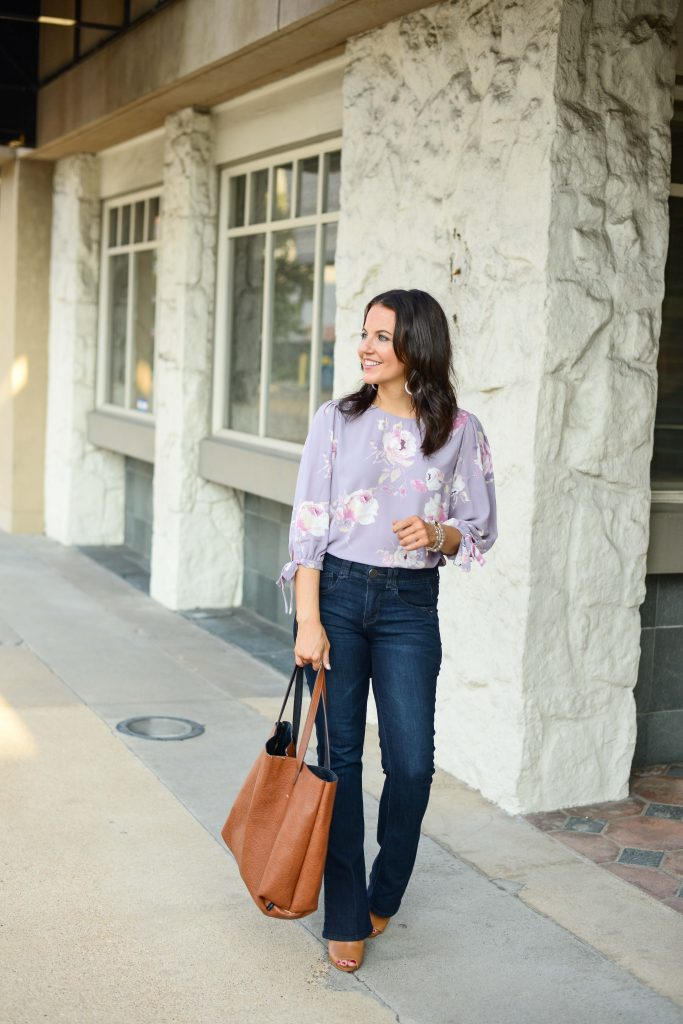 business casual outfit | lavender floral blouse | dark wash jeans | Affordable Fashion Blogger Lady in Violet