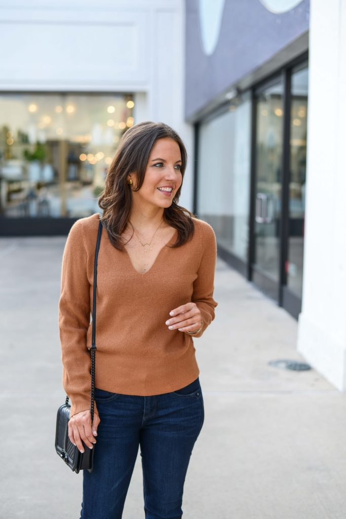 casual winter outfit | light brown sweater | short gold necklace | Texas Fashion Blogger Lady in Violet