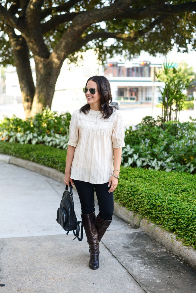 Budget Friendly Fashion Blog   fall casual outfit beige modest blouse   black skinny jeans   Affordable Fashion Blog Lady in Violet