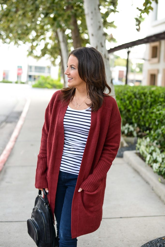 fall fashion | long cardigan sweater over striped tank top | Texas Fashion Blog Lady in Violet