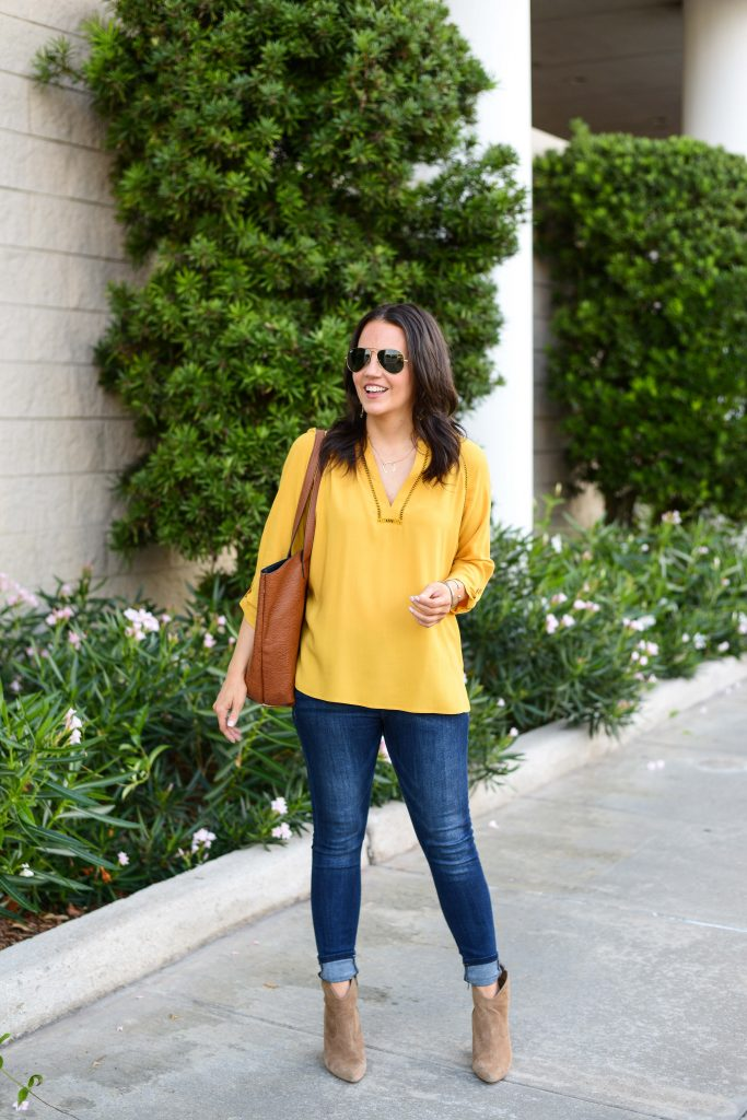 fall outfit | dark yellow top | cuffed skinny jeans | Petite fashion Blogger Lady in Violet