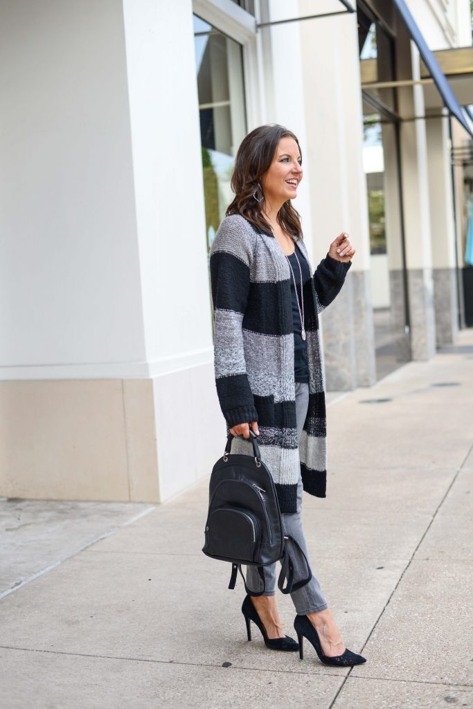 winter casual outfit | striped long cardigan | black leather backpack purse | Popular Fashion Blog Lady in Violet