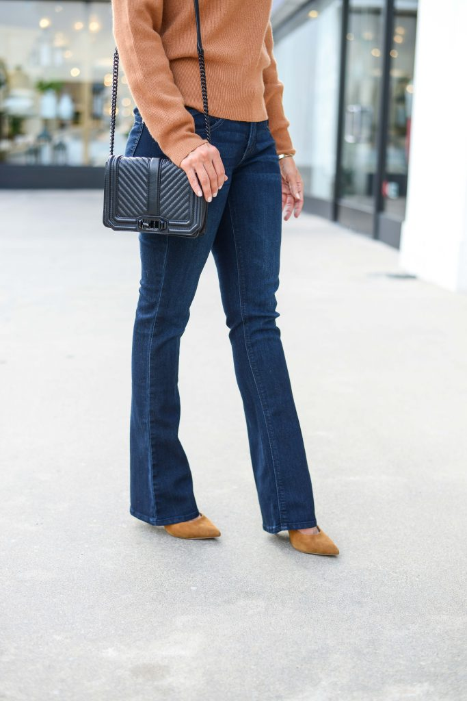 business casual outfit | flared dark wash jeans | black crossbody purse | Casual Fashion Blog Lady in Violet