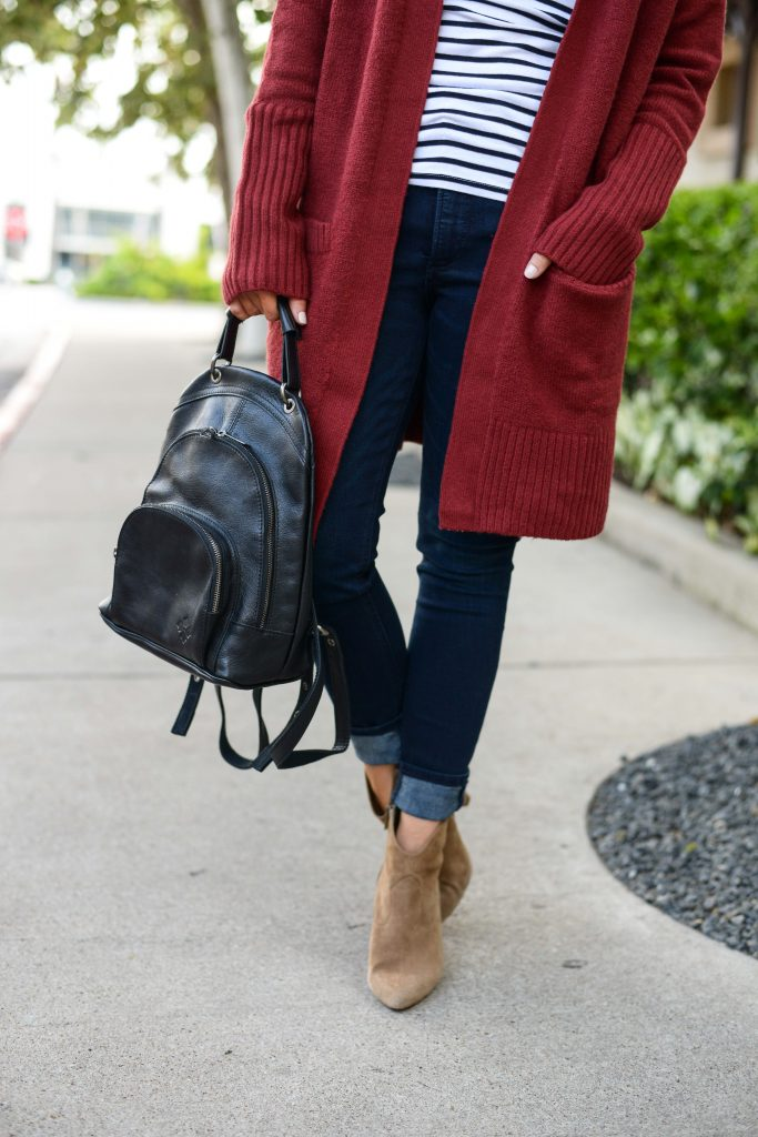 fall outfit | black leather backpack purse | dark wash skinny jeans for petites| Casual Fashion Blog Lady in Violet
