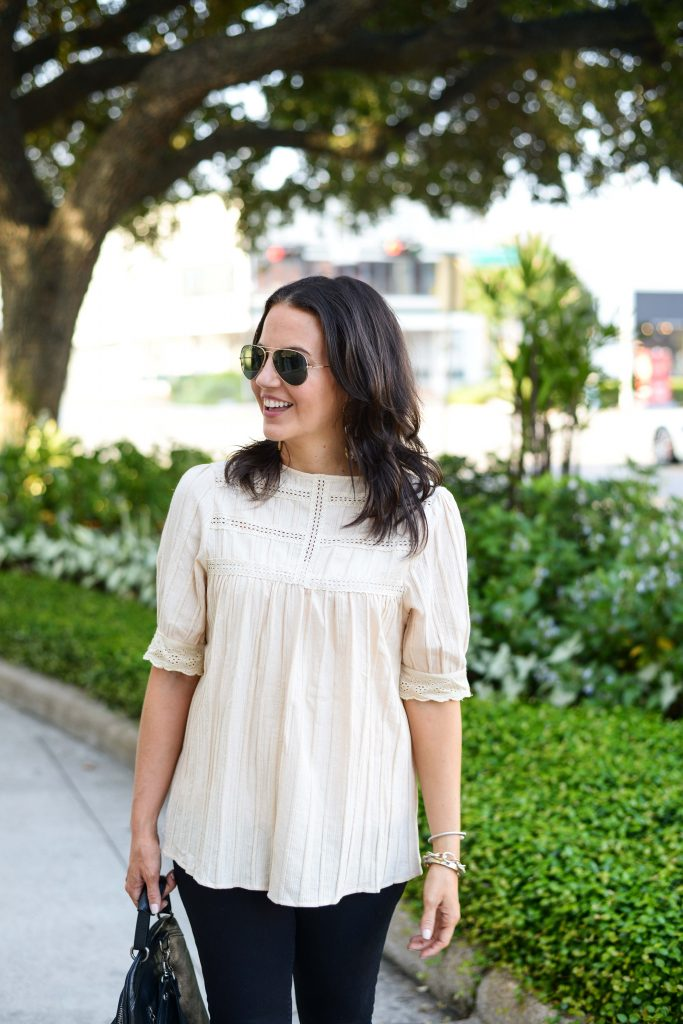 fall outfit | off white top | rayban aviators | Petite Fashion Blog Lady in Violet