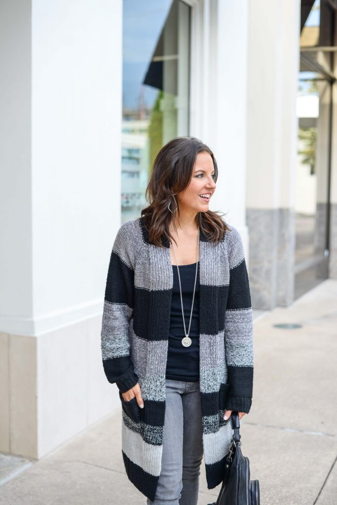 layered fall outfit | long black cardigan | black tank top | Casual Fashion Blog Lady in Violet