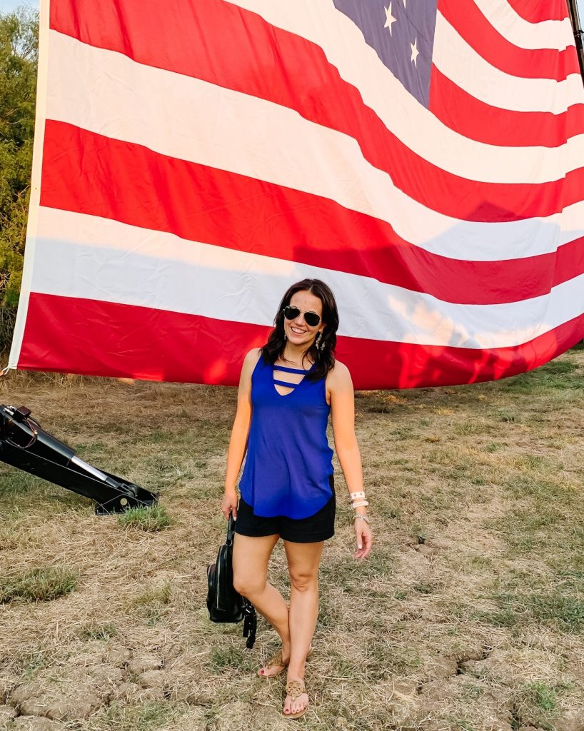 patriotic outfit | blue tank top | black cotton shorts | Texas Fashion Blog Lady in Violet