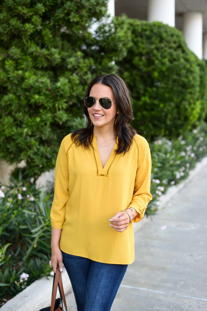 womens casual fashion | yellow blouse | rayban aviator sunglasses | Budget Friendly Fashion Blog Lady in Violet