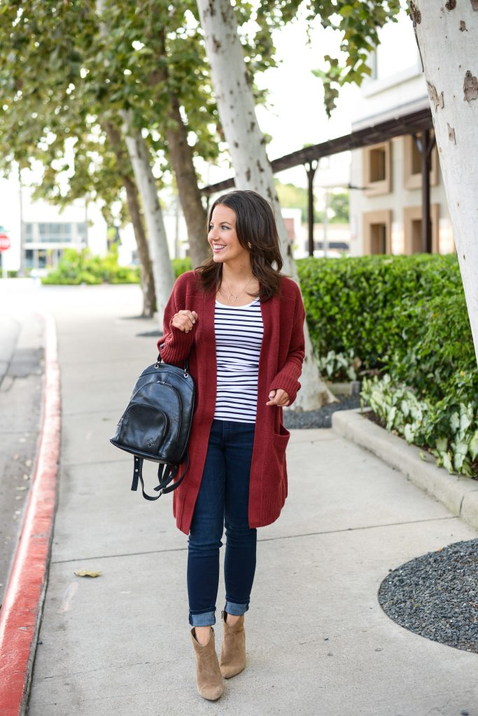 affordable fall outfit idea | long red cardigan | brown booties | Popular Fashion Blog Lady in Violet