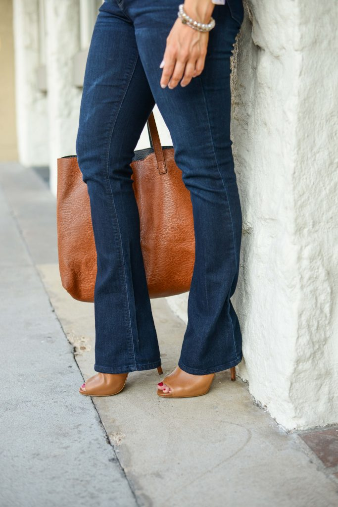 casual fall outfit | dark wash flared jeans | brown heeled booties | Casual Fashion Blog Lady in Violet