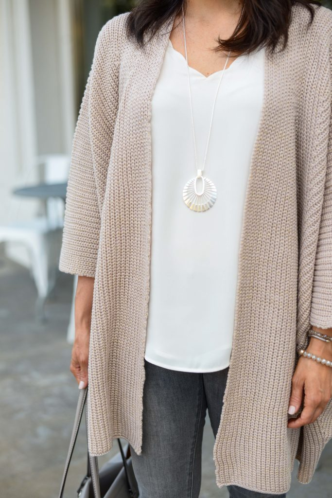casual spring outfit | blush pink cardigan | long silver pendant necklace | Affordable Fashion Blog Lady in Violet