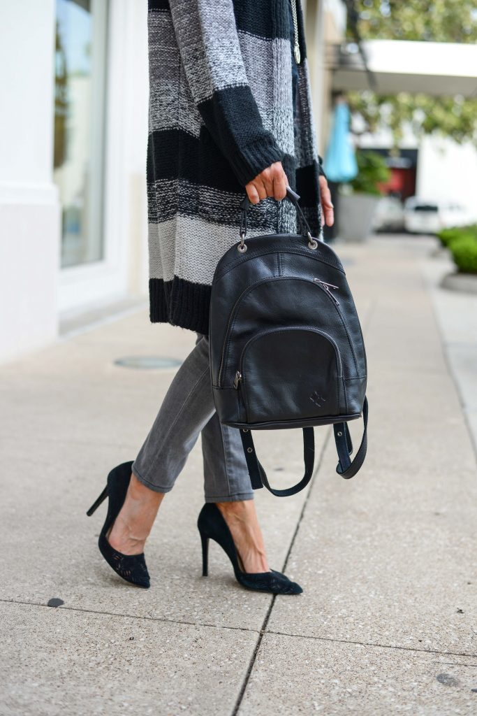 dressy casual outfit | black leather backpack | black dorsay heels | Petite Fashion Blogger Lady in Violet