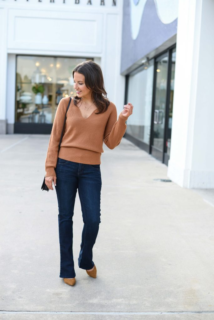 fall outfits | light brown sweater | dark wash flare jeans | Popular Fashion Blog Lady in Violet